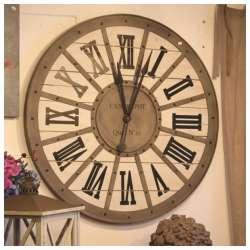Horloge Gare metal bois Murale Style Industriel Ø93 cm