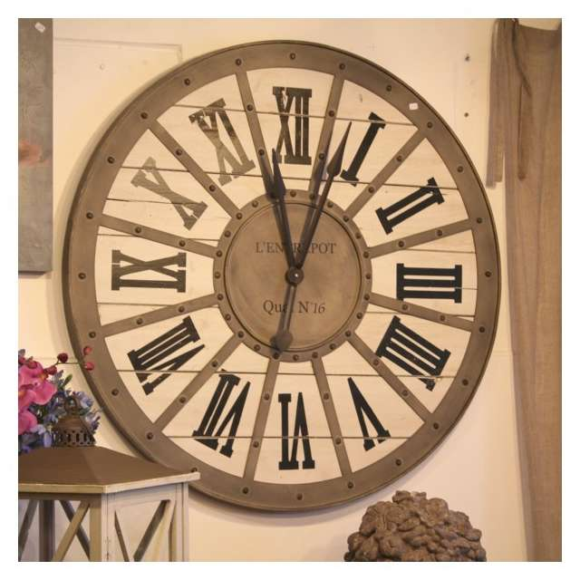 horloge gare metal bois murale style industriel d coration. Black Bedroom Furniture Sets. Home Design Ideas