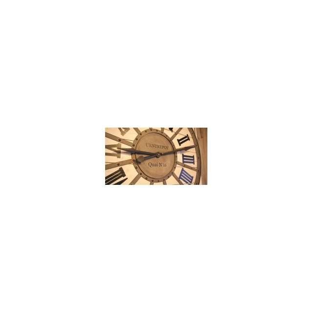 Horloge gare metal bois murale style industriel d coration for Deco murale style industriel