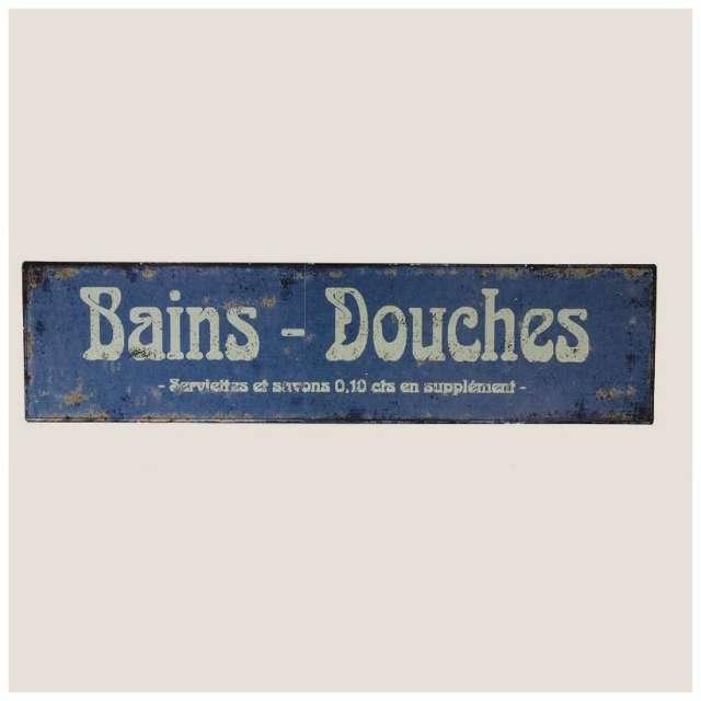 Antic line plaque deco bleue salle de bain deco retro cosy - Plaque deco cuisine retro ...