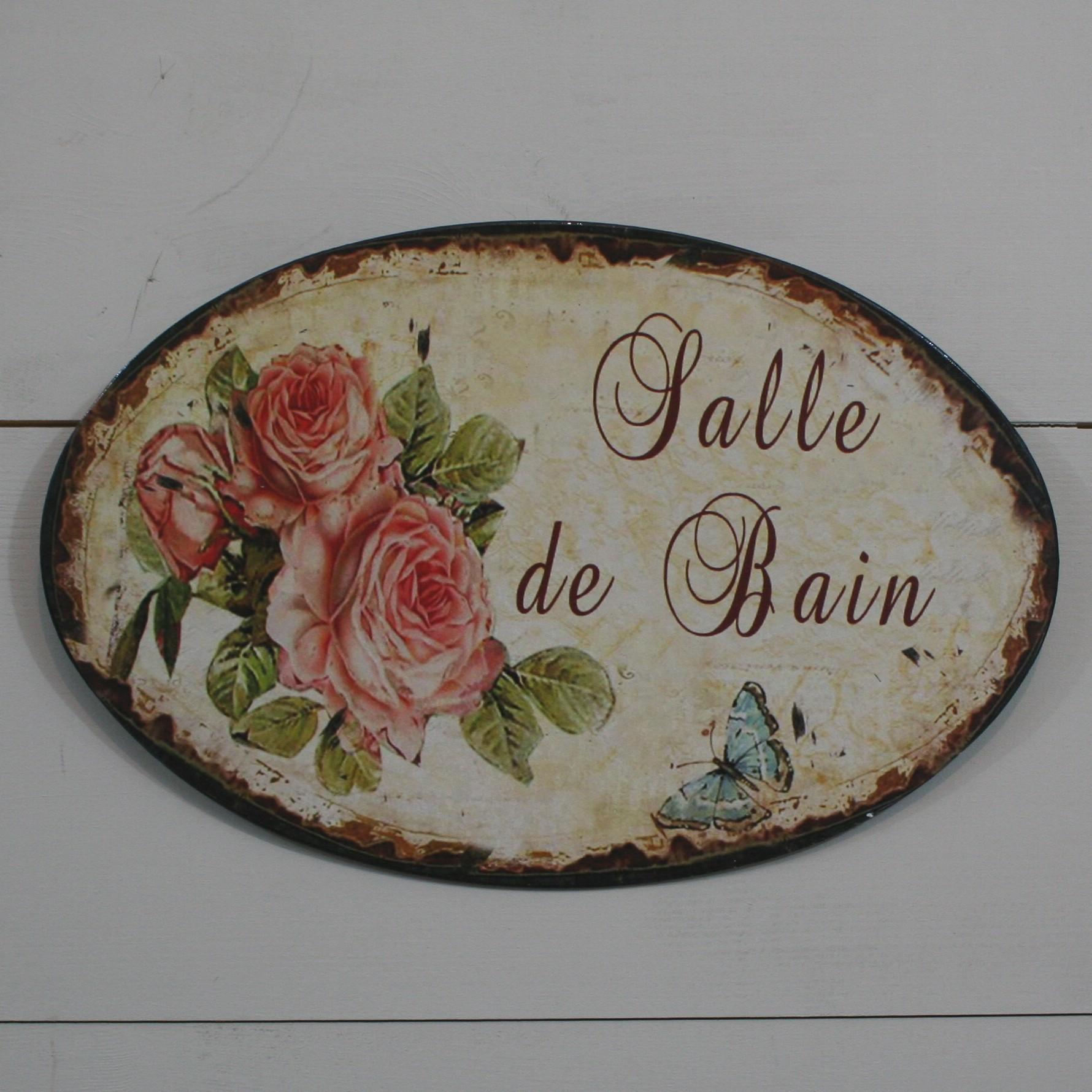 D coration de charme plaque de porte salle de bain ovale for Plaque de porte wc et salle de bain