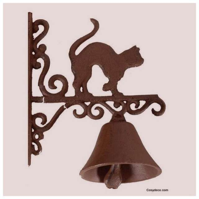 Cloche de porte murale d cor chat en fonte antic line for Plaque metal decorative pour jardin