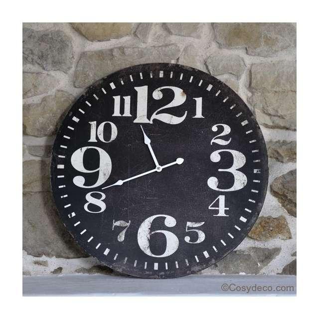 horloge de cuisine noire style bistrot vintage