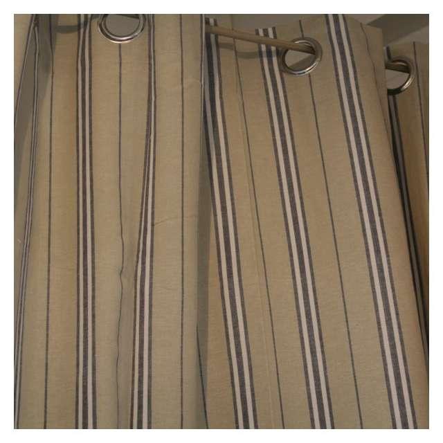 Rideau Coton Rayures à Oeillets Bleu et Lin Déco Toile Matelas