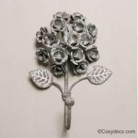 Ambiance Romantique Crochet métal gris bouquet de roses