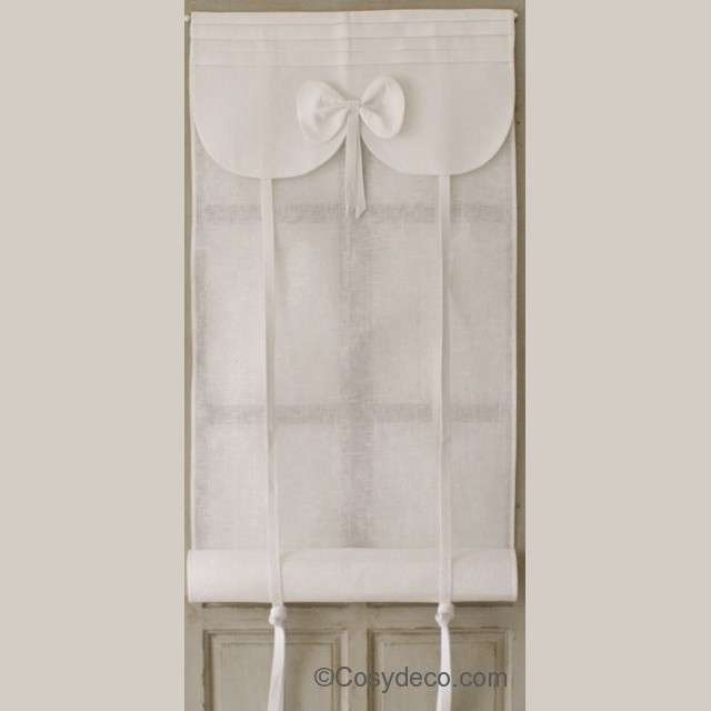 Store Noeud Blanc Aux Cotonnades de Mathilde largeur au choix