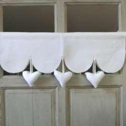 Rideau Cantonniere Coeur Deco Blanche