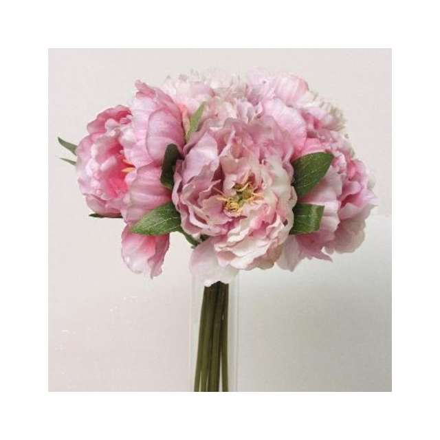 Pivoines Artificielles en Bouquet Roses Pastel Déco Romantique.