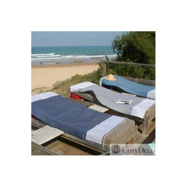 fouta nid d 39 abeille bleu drap de plage et de salle de bain. Black Bedroom Furniture Sets. Home Design Ideas