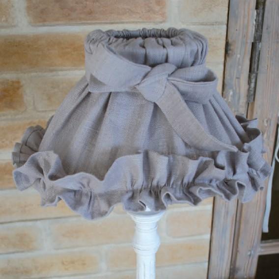 Abat jour froufou lin gris d co de charme boutique cosy d co - Abat jour cosy ...