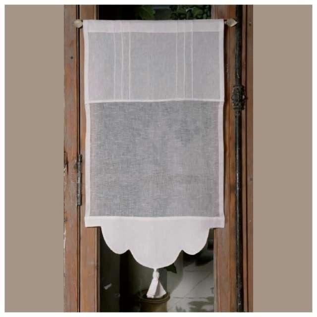 Brise bise rideau sur mesure en lin blanc et pompon - Rideaux brise bise cuisine ...