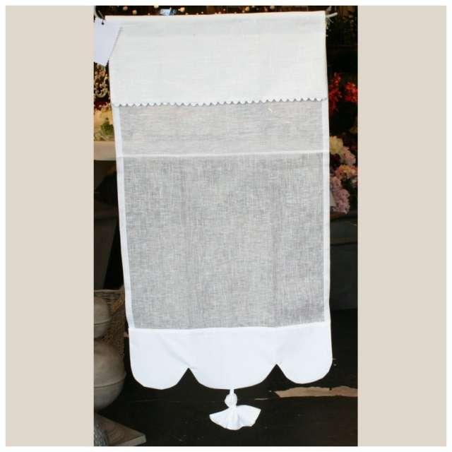 Latest rideau brise bise lin blanc camlia dcoration for Brise bise pour cuisine