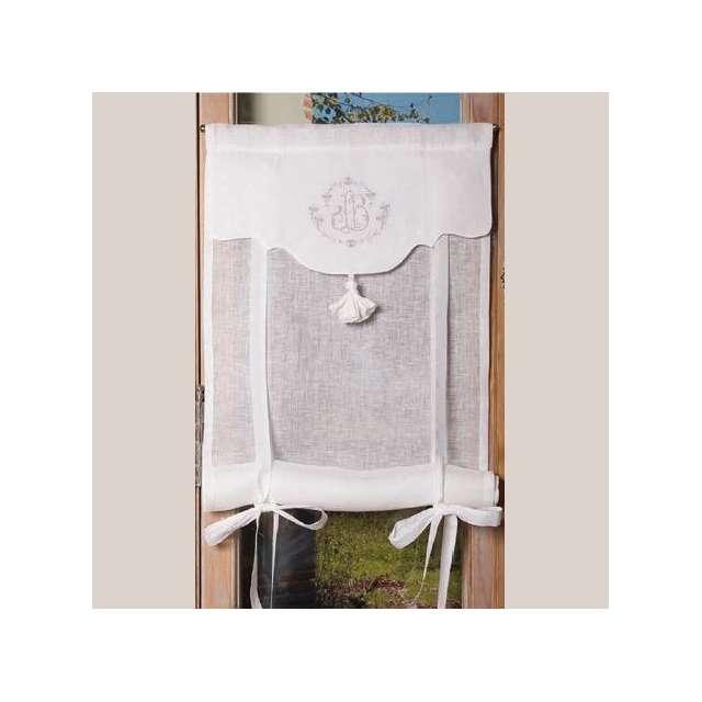 store lin blanc broderie grise style ancien en vente dans la boutique cosydeco. Black Bedroom Furniture Sets. Home Design Ideas