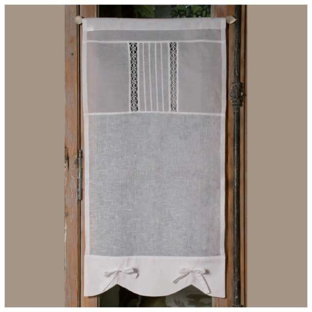 rideaux voilage lin blanc nouettes deco de charme. Black Bedroom Furniture Sets. Home Design Ideas
