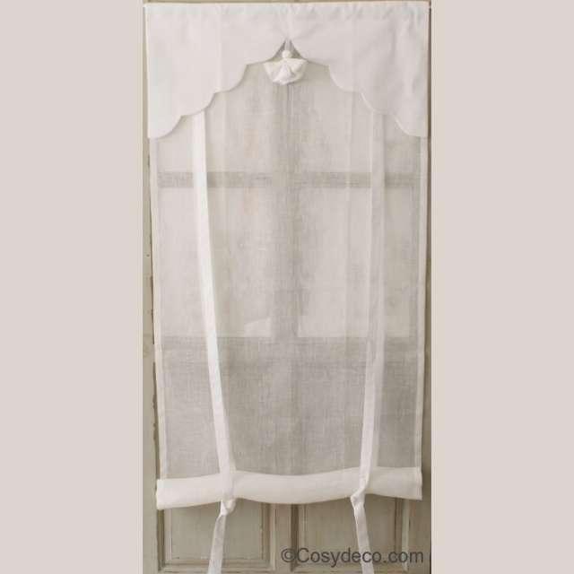 Store Lin blanc décoration Pompon