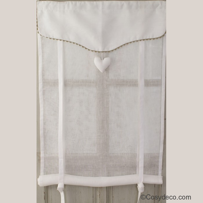 Store r glable en hauteur en lin blanc coeur et croquet for Rideaux courts fenetres
