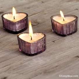 Les 3 photophores Coeurs bougies parfumées ambre