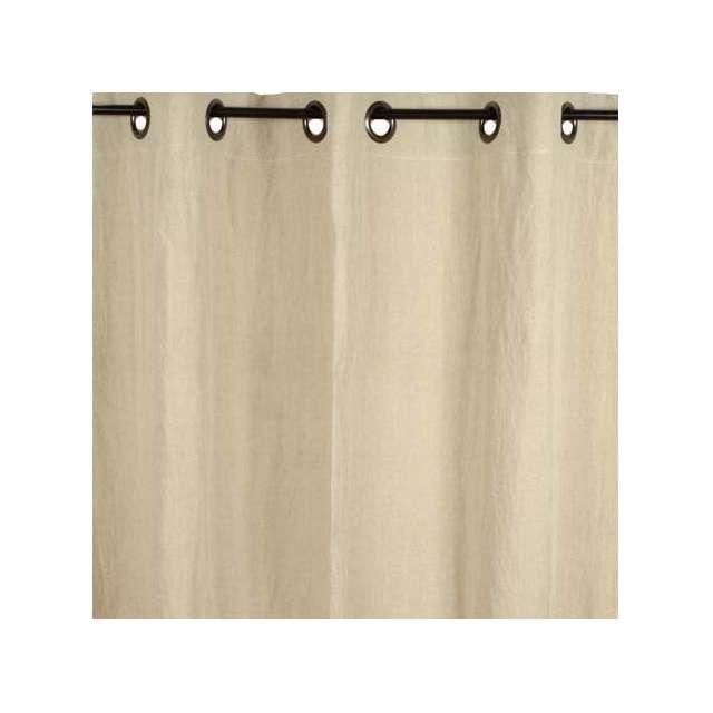 rideau lin lav couleur ecru et oeillets brun d coration. Black Bedroom Furniture Sets. Home Design Ideas