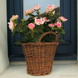 Rosier Artificiel Rose Pastel Pot en Osier