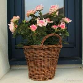 Rosier Artificiel Rose Pastel Pot en Osier