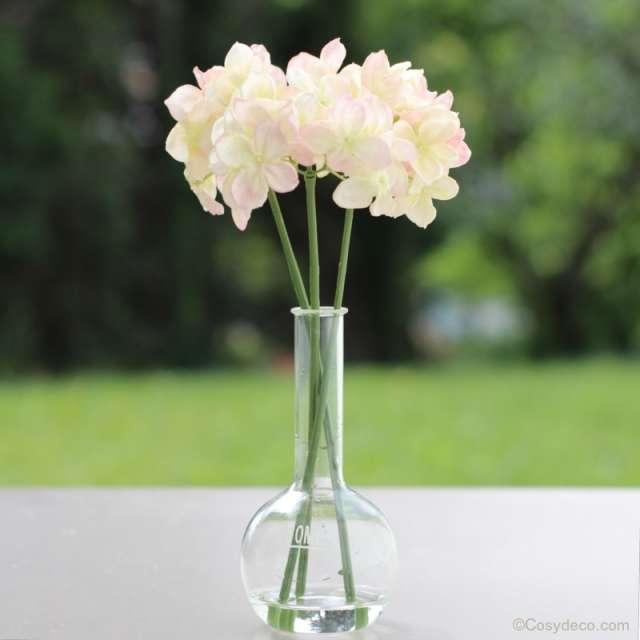 3 Brins d'Hortensias Artificiels Rose Pastel Shabby Chic