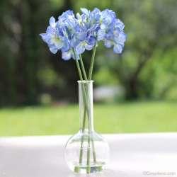 3 Brins d'Hortensias Artificiels Bleu Shabby Chic