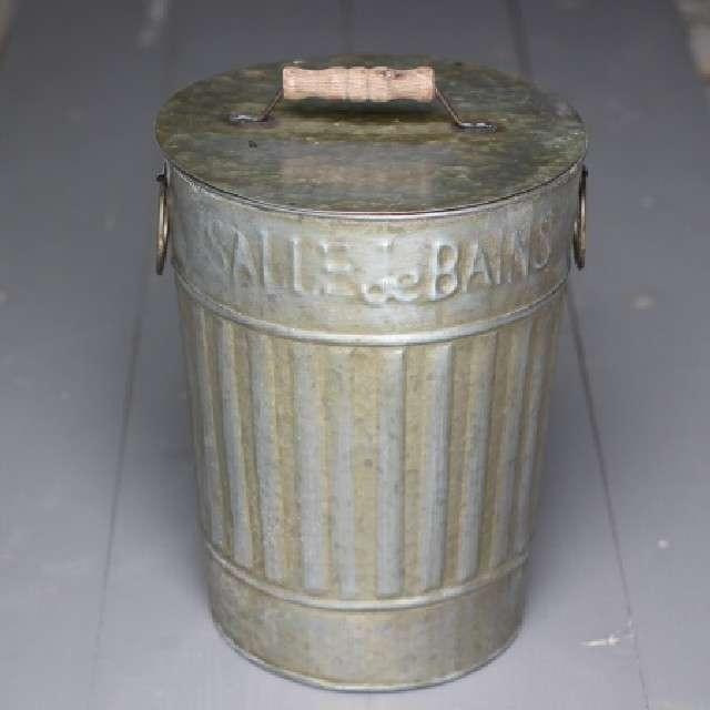 Poubelle de Salle de Bain Rétro, WC Déco Rétro Zinc