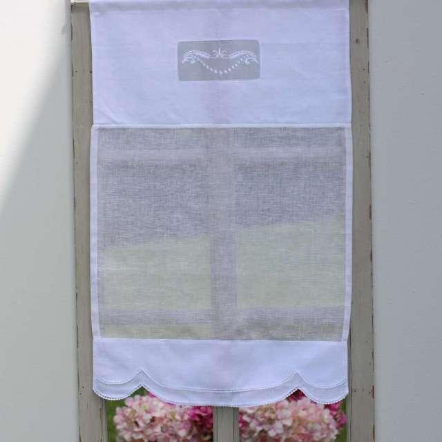 rideau brise bise en lin blanc pr t poser style ancien romantique en vente chez cosyd co. Black Bedroom Furniture Sets. Home Design Ideas