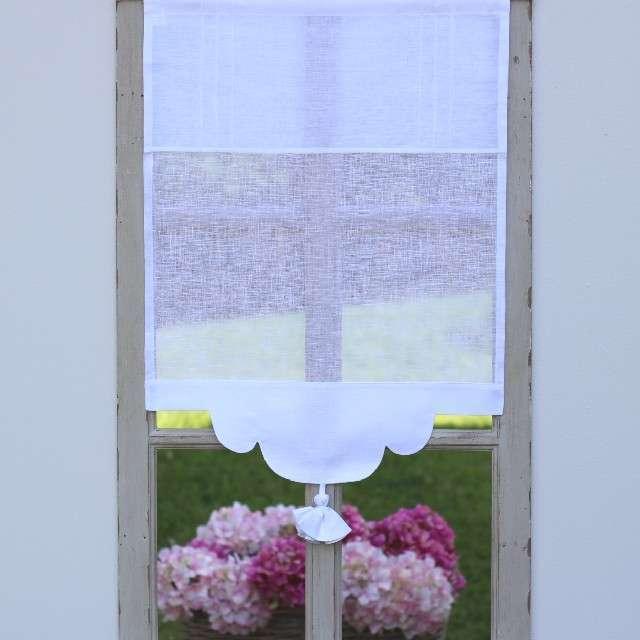 Brise bise lin blanc 60cm de large boutique de rideaux en ligne cosy d co - Deco de charme en ligne ...