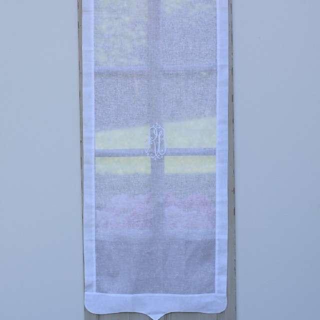 Brise-vue Sur-mesure Lin Blanc et Monogramme