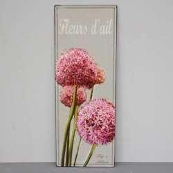 Plaque Métal Fleur d'Ail Decoration Campagne