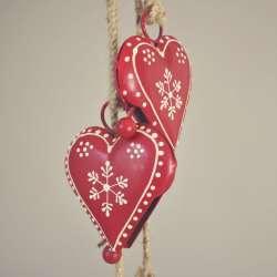 Guirlande de Noël Coeur Métal Rouge