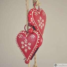 Décoration de Noël guirlande Coeur Métal rouge