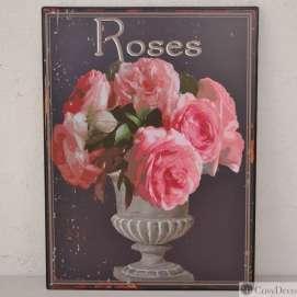 Plaque décorative murale Fleurs Shabby Chic