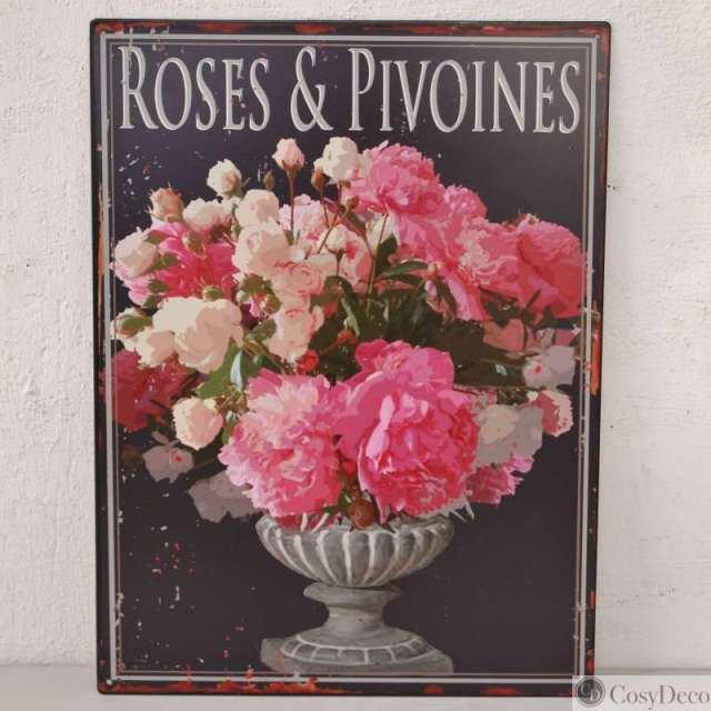 Plaque d corative murale style charme bouquet de pivoines cosy for Plaque murale decorative