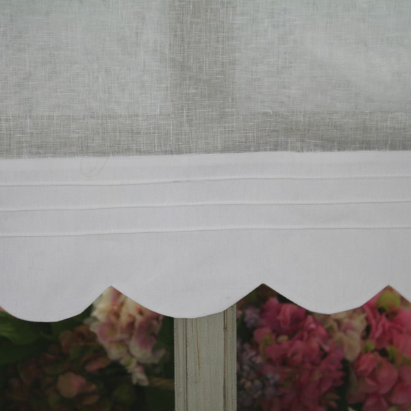 rideau brise bise lin blanc monogramme 60x90cm. Black Bedroom Furniture Sets. Home Design Ideas