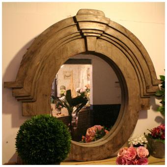 grand miroir oeil de boeuf esprit brocante pomax. Black Bedroom Furniture Sets. Home Design Ideas