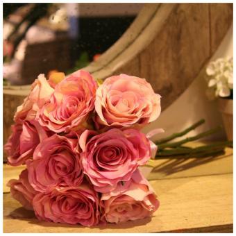 bouquet 9 roses anciennes d coration de charme fleurs artificiel. Black Bedroom Furniture Sets. Home Design Ideas