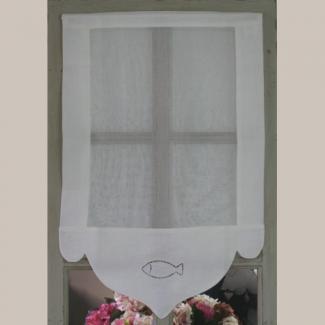 rideau brise bise d co poisson blanc deco bord de mer. Black Bedroom Furniture Sets. Home Design Ideas