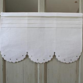 Cantonnire broderie anglaise largeur 60cm aux cotonnades de mathilde - Rideaux charme d antan ...