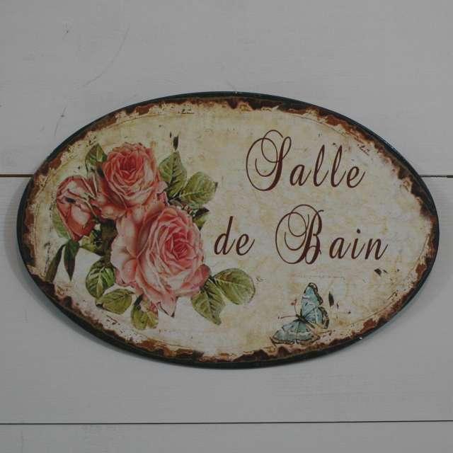 D coration de charme plaque de porte salle de bain ovale en m tal - Plaque de pvc pour salle de bain ...