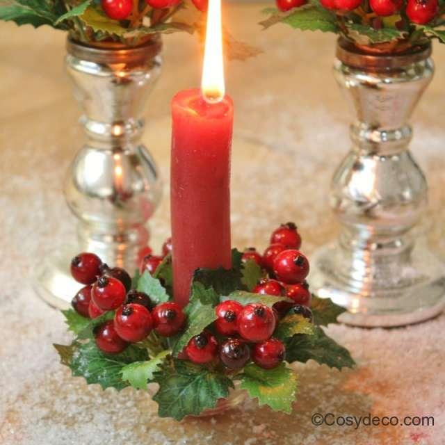 Large Couronne de Table Baies Rouge et pommes Ambiance Noël