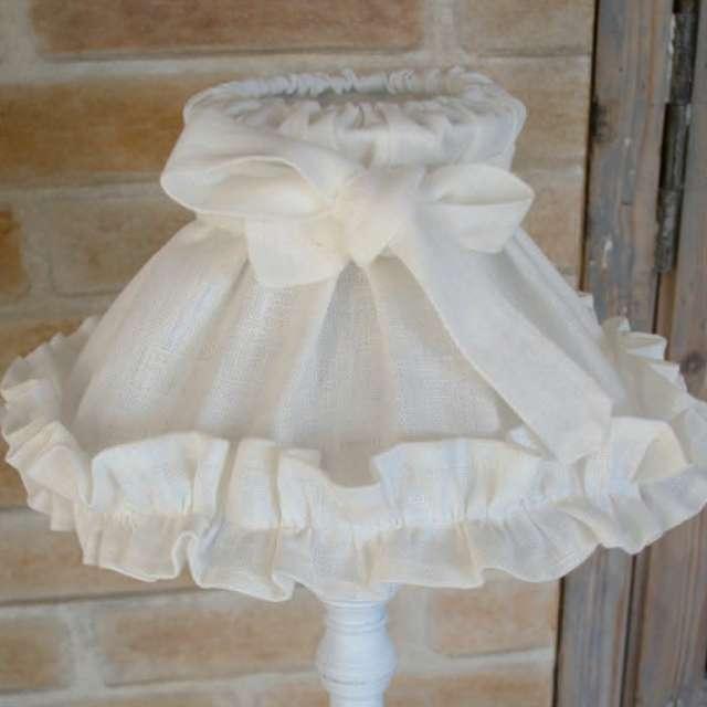 abat- jour Froufrou lin blanc