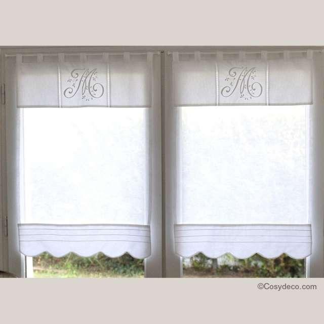 Rideau Brise-Bise Lin Blanc Monogramme Sur-mesure