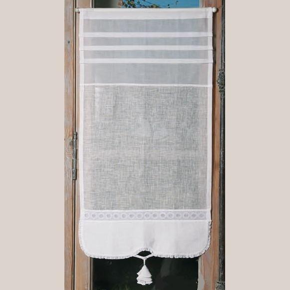 brise bise style ancien sur mesure en lin blanc et dentelle. Black Bedroom Furniture Sets. Home Design Ideas