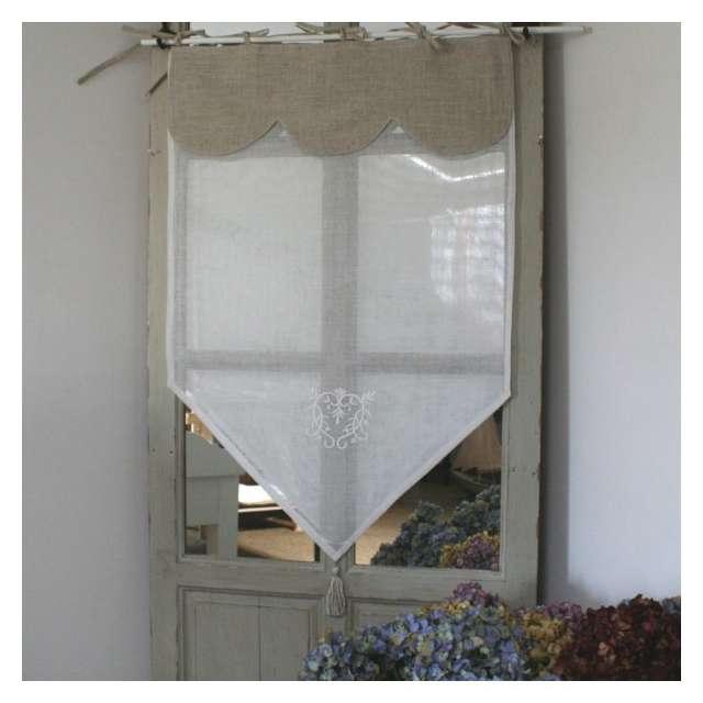 Brise Bise, rideau Monogramme blanc et Cantonnière Lin à Nouettes ...