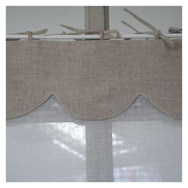 Brise-Bise Monogramme blanc Cantonniere lin