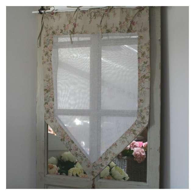 Brise-Bise Rideau Fleurs Romantiques lin Déco Cosy