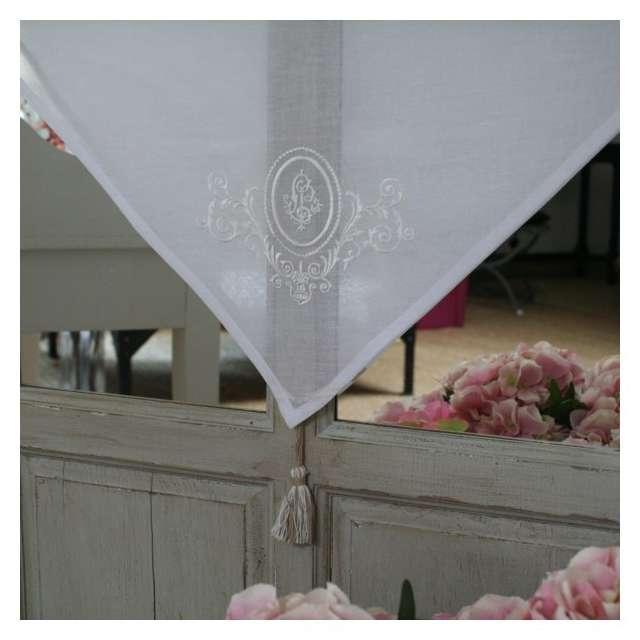 Brise-Bise Rideau Monogramme blanc et lin