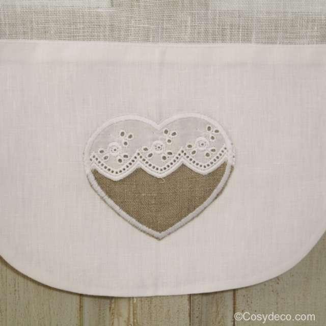 Rideau Brise-Bise Coeur en lin broderie Anglaise largeur 45 cm